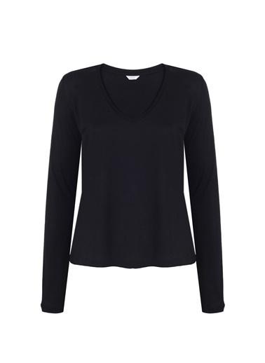 Deux Beautés Claire V-Yaka Uzun Kollu T-Shirt  Siyah